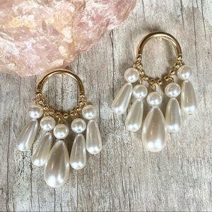 Zara White Pearl Chandelier Earrings